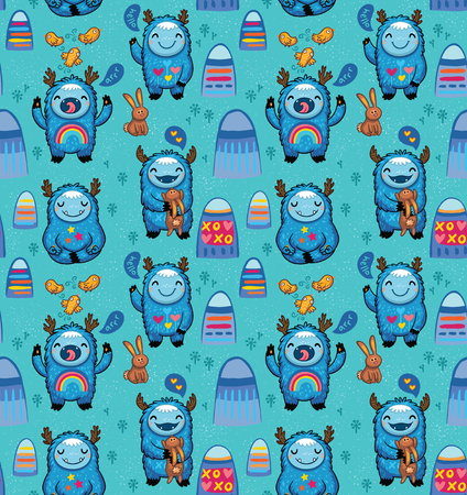 Cute funny monsters cartoon characters seamless pattern. Blue yetis set with decorative ornaments on the stomachs vector illustration.