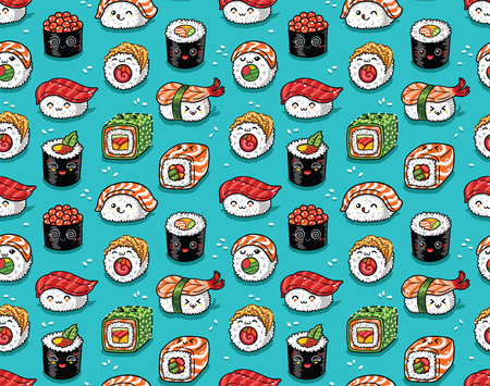 Sushi seamless pattern in style vector cartoon characters background.