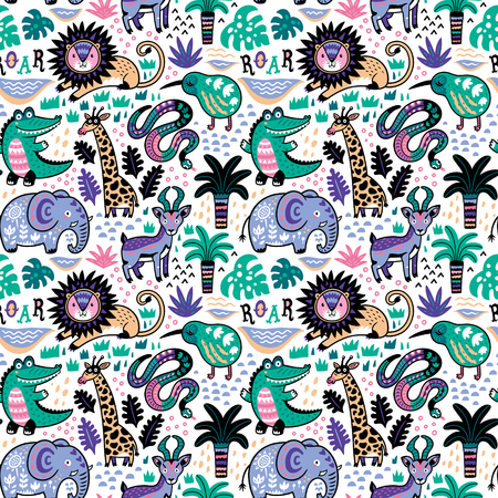 Decorative seamless pattern cartoon tropical animals vector illustration for children. Print for fabric, textile and paper. Ilustração