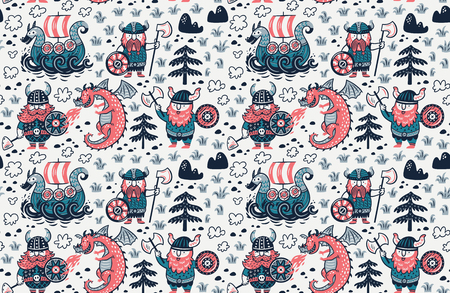 Cartoon vikings seamless pattern, dragon and drakkar vector illustration.