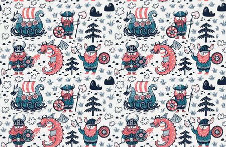 Cartoon vikings seamless pattern, dragon and drakkar vector illustration. Banco de Imagens - 95928570