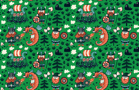 Cartoon vikings seamless pattern, dragon and drakkar isolated on green vector illustration.