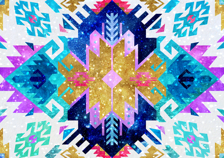 Tribal turkish seamless pattern in bohemian style. Ideal for fabric, wrapping paper, greeting and invitation card 스톡 콘텐츠