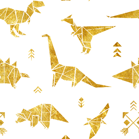 Seamless pattern with golden origami dinosaurs isolated on white background. Design for background, fabric, wrapping.