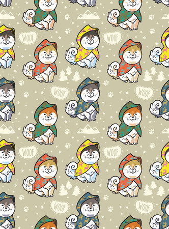 Seamless pattern of cartoon Samoyed dogs in colorful raincoats. Trendy vector background. Perfect for kids apparel, fabric, textile, nursery decoration, wrapping paper Vettoriali