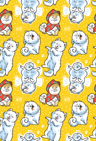 Seamless pattern of cartoon Samoyed dogs in the snow. Trendy vector background. Perfect for kids apparel, fabric, textile, nursery decoration, wrapping paper