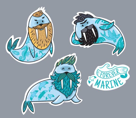 Vector stickers with cartoon characters of funny walruses with different haircuts, beards and tattoos. Hand-drawn vector illustration.