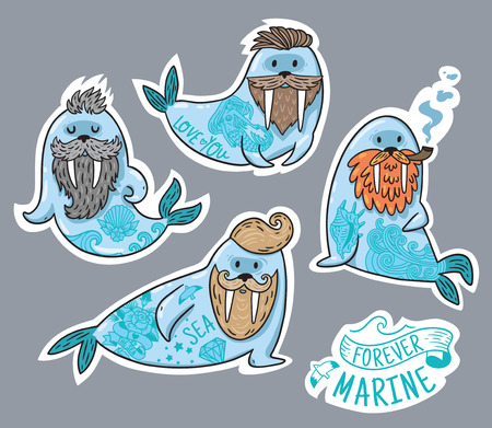 Vector stickers with cartoon characters of funny walruses with different haircuts, beards and tattoos. Hand-drawn Vector illustration. Standard-Bild - 96363185