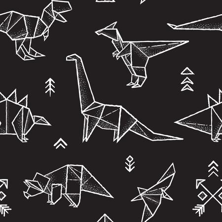 Seamless pattern with hand drawn origami dinosaurs in monochrome colors. Vector illustration