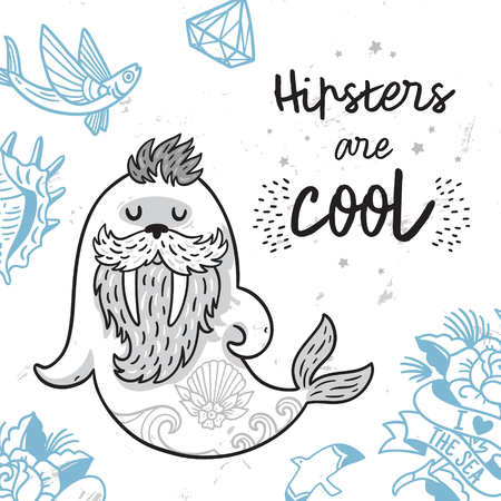 Black and white hipster postcard with cartoon bearded walrus with tattoos. Vector illustration