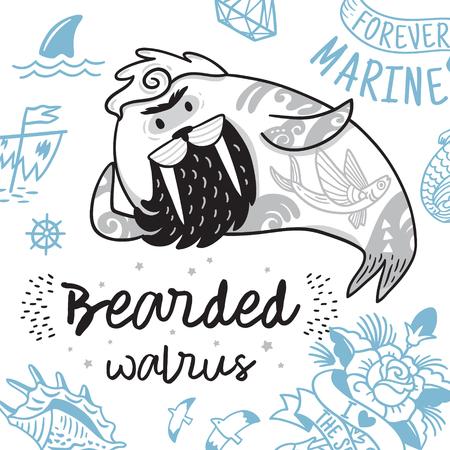 Zwart-wit hipster ansichtkaart met cartoon bebaarde walrus met tatoeages. Vector illustratie Stock Illustratie