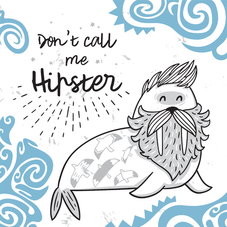 Black and white hipster postcard with cartoon bearded walrus with maori tattoos in blue. Vector illustration Illustration