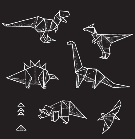 Collection of six hand drawn vector origami animals and triangles element for design.