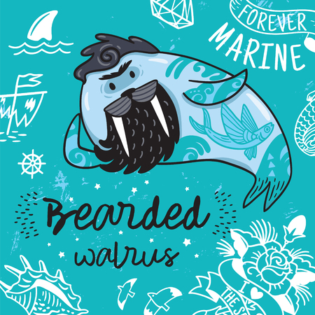 Hipster postcard with cartoon bearded walrus with tattoos. Vector illustration