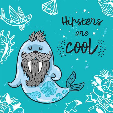 Hipster ansichtkaart met cartoon bebaarde walrus met tatoeages. Vector illustratie - Hipsters zijn cool Stock Illustratie