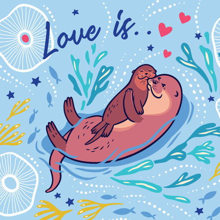 Cute vector card with mother and child otters. Vector illustration Stock Illustratie
