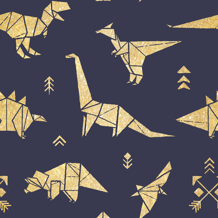 Seamless pattern with golden origami dinosaurs isolated on navy blue background.