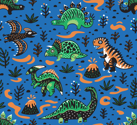 Seamless pattern of dinosaurs, volcano, lava, ferns and leaves in cartoon style. Creative vector childish background for fabric, textile