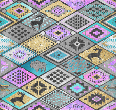 Southwestern patchwork. Rhombuses tiles patchwork in ethnic style