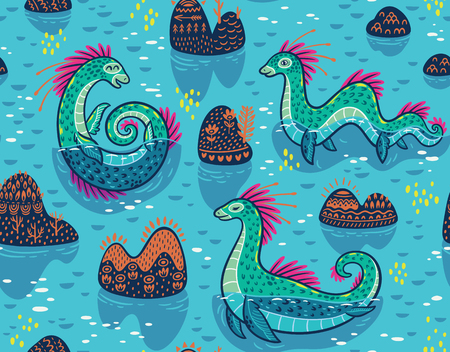 Seamless pattern with Loch Ness Monsters and decorative hills in the lake. Vector illustration