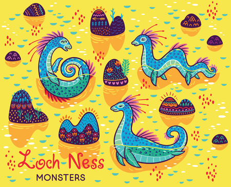 Cartoon Loch Ness Monsters and decorative hills in the lake. Vector illustration