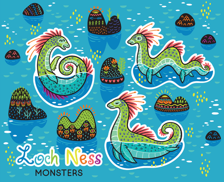 Vector stickers with cartoon characters of Loch Ness Monsters. Vector illustration