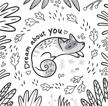 Dream about you. Ink fantasy print with cartoon sleeping fox in the leafs. Black and white vector illustration ideal for coloring print