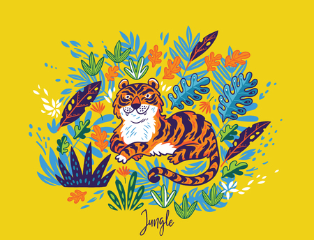 Tiger in tropical leaves isolated on yellow background. Vector illustration