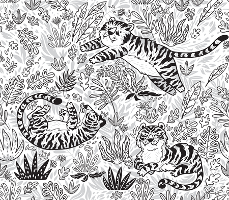 Tropical seamless pattern with funny tigers in cartoon style in outline. Vector illustration Vectores