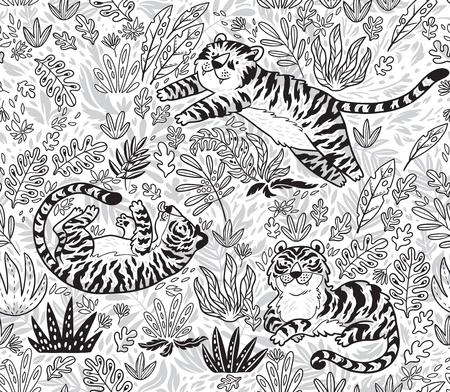 Modelo inconsútil tropical con tigres divertidos en estilo de dibujos animados en contorno. Ilustración vectorial