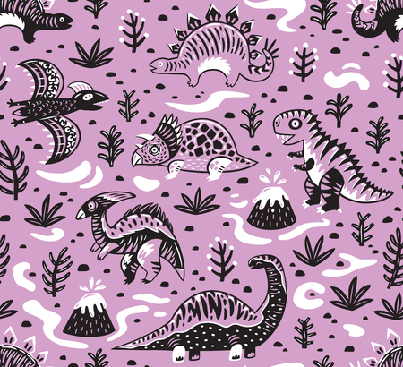 Seamless pattern of dinosaurs, volcano, lava, ferns and leaves in cartoon style. Creative vector childish background for fabric, textile in pink colors