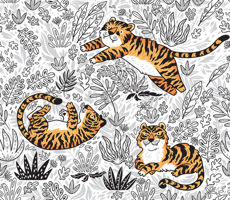 Vector seamless pattern with tigers. Contour garden background with cartoon orange tigers. Creative illustration for kids design, wallpaper, wrapping, textile, package design. Standard-Bild - 98616773