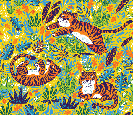 Tropical seamless pattern with funny tigers in cartoon style. Vector illustration Çizim