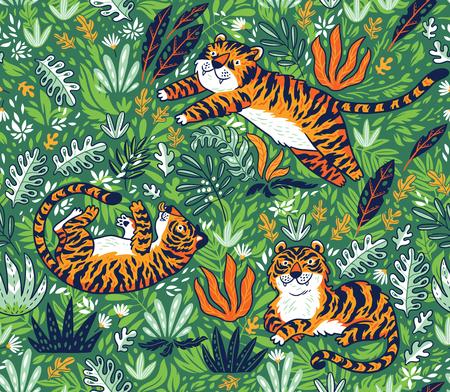 Tropisches nahtloses Muster mit lustiger Tiger in der Karikaturart . Vektor-Illustration Standard-Bild - 99232832