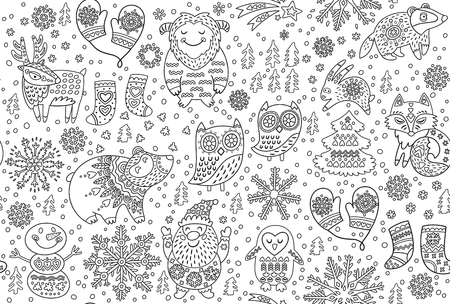 Christmas seamless pattern with cartoon animals in the snow. Winter endless print for coloring book. Black and white pattern.