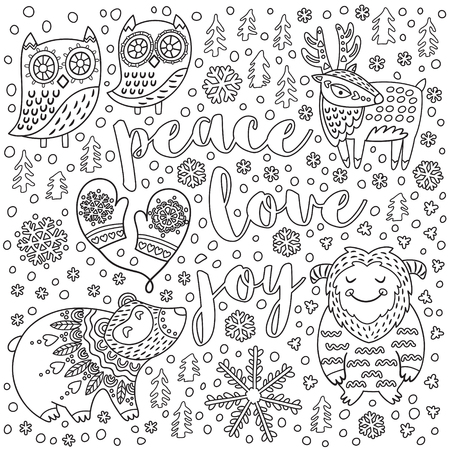 Peace, love, joy. Christmas print with text and decorative cartoon animals in the snow. Black and white new year print ideal for coloring. Vector illustration Illustration