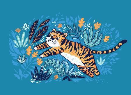 귀여운 만화 호랑이는 정글에서 뛰어 오르고있다. 포스터, 카드, 의류 디자인 벡터 일러스트 레이 션에 이상적입니다. 일러스트