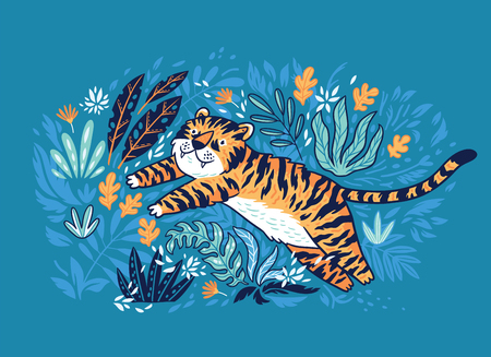 Cute cartoon tiger is jumping in the jungle. Ideal for posters, cards, apparel design Vector illustration.