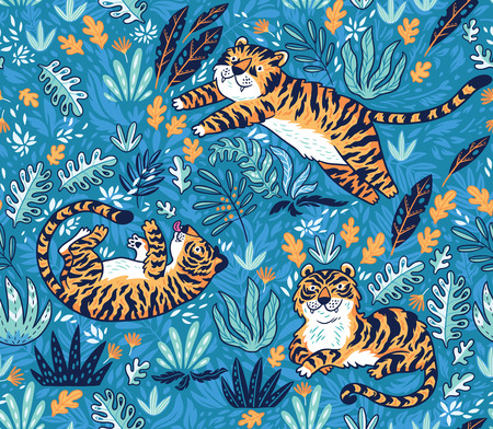 Vector seamless pattern with tigers. Blue garden background with cartoon orange tigers. Creative illustration for kids design, wallpaper, wrapping, textile, package design. Standard-Bild - 99546562