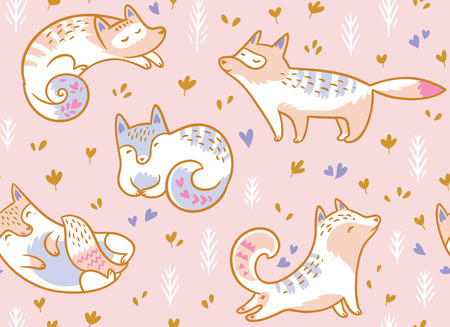 Cute polar foxes seamless pattern. Hand drawn vector illustration in cartoon style