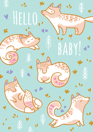 Baby shower design. Cartoon foxes or cats with text Hello baby. Vector illustration