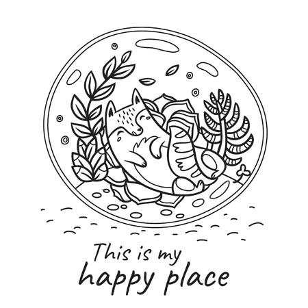 This is my happy place print. Glass terrarium with cute cat and garden in cartoon style. Contour vector illustration