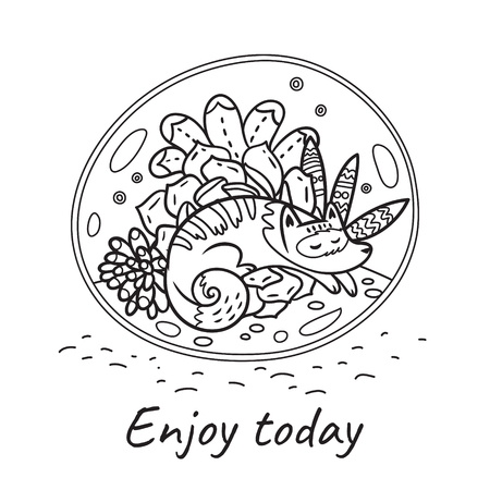 Enjoy today. Glass terrarium with cute cat and garden in cartoon style. Contour vector illustration