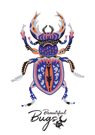 Cartoon Beetle in scandinavian style. Vector illustration Standard-Bild - 100317774