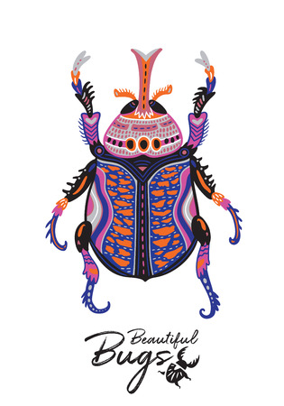 Cartoon Beetle in scandinavian style. Vector illustration