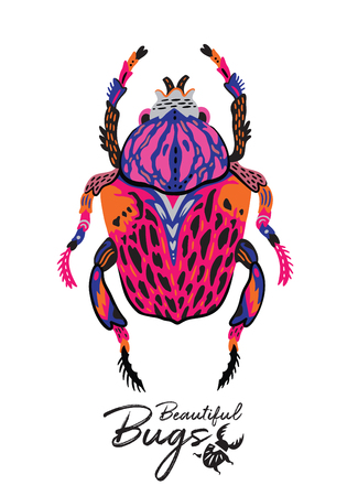 Cartoon Beetle in scandinavian style. Vector illustration Standard-Bild - 100317846