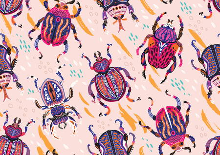 Surface background with ornamental bugs. Vector illustration