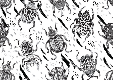 Monochrome seamless pattern with decorative ornamental beetles. Fantasy vector illustration