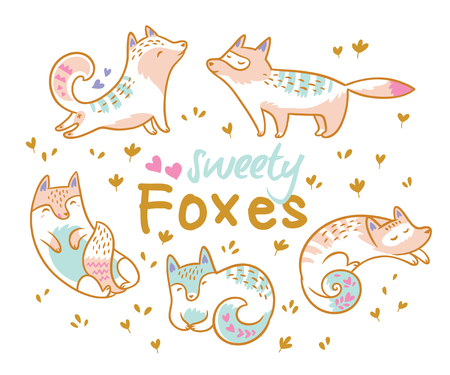 Collection of cute cartoon foxes, cats n different poses. Ideal for patch, pins, brooch and stickers. Vector illustration