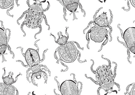 Ink seamless pattern with decorative ornamental insects. Illusztráció